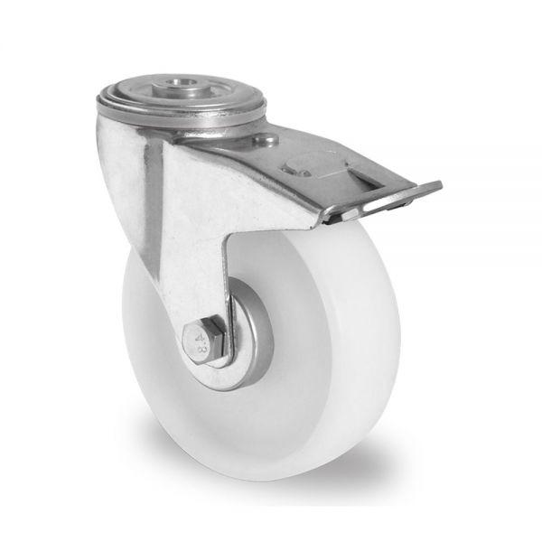 Polyamid Schwerlastrollen 100 mm Transport Rolle Bremsrolle Kunststoff Rad