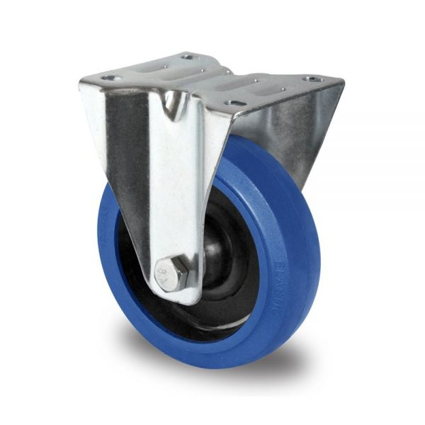 Blue Wheels Transportrollen 80 mm Vollgummi Rad Rolle Schwerlastrollen Bockrolle