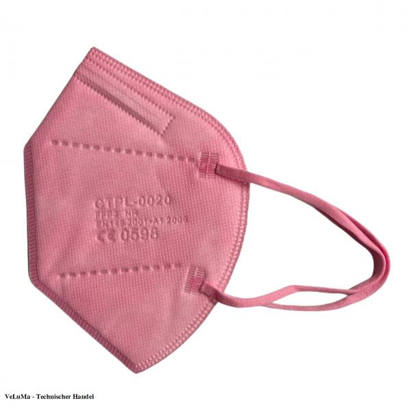 50 x FFP2 Maske rosa pink 5 lagig Mundschutz Atemschutz DE Händler CE geprüft