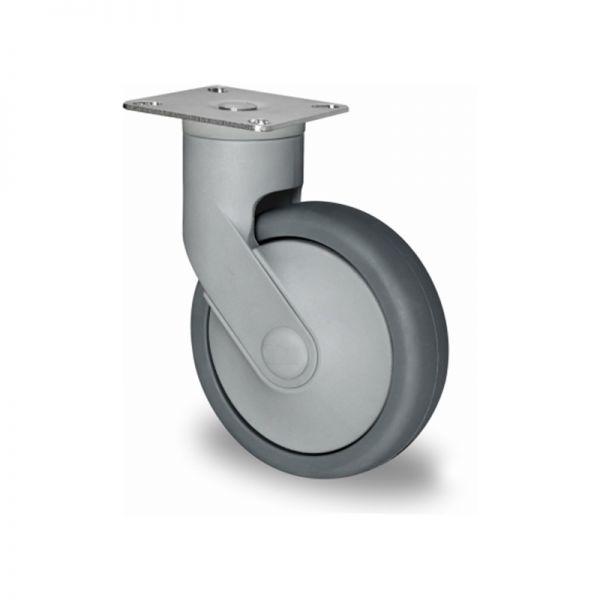 Lenkrolle, Kunststoffrolle, Ø 125 mm, Gummi Rad