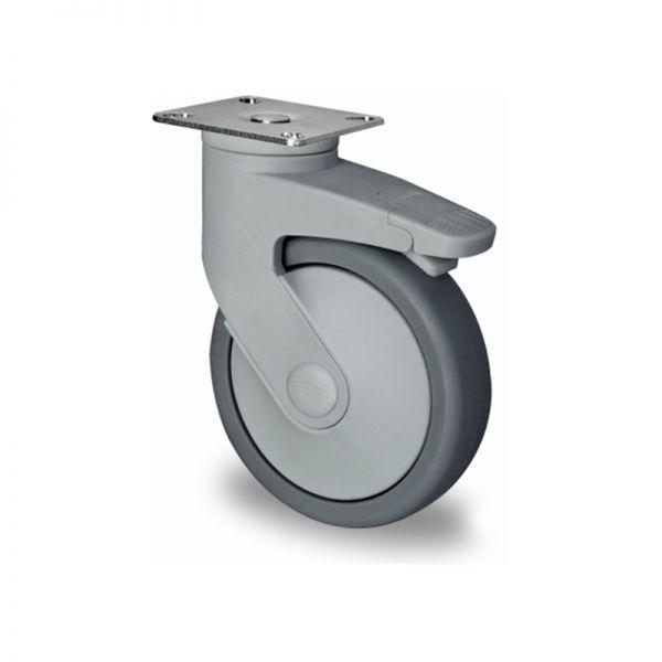 Lenkrolle mit Total-Feststeller, Kunststoffrolle, Ø 100 mm, Gummi Rad